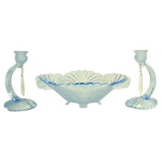 Cambridge Elegant Glassware - Three Piece Caprice Console Set - 1930's