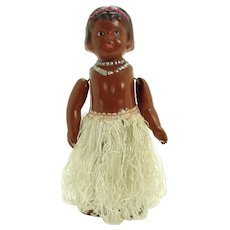 Hula Dancer Tin & Celluloid Wind-up Toy - Occupied Japan - Mint