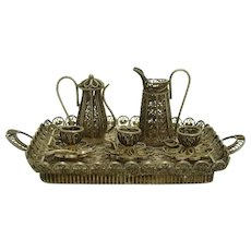 Miniature Silver Tea Set and Tray - 1910