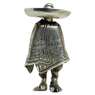 Sterling Taxco Brooch - Mexican Man with Poncho and Sombrero - 1940's