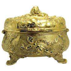 Victorian Gold Plated Jewelry Box with Lizards, Crabs, Putti and Birds - 1890's