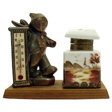 Hobo Thermometer Ink Well Desk Piece - 1930's