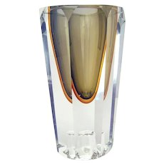 Retro Cut Glass Two-Color Vase