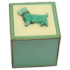 Enameled Ash Receiver with Jadeite Scottie Dog - 1920's