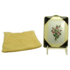 Gillouche Compact with Floral Hand-Painted Enameling - 1920's