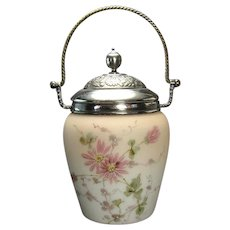 Mount Washington Hand-Painted Glass Biscuit Jar - 1890's