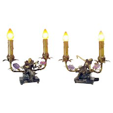 Minstrel Lamps with Musical Figures on Marble Bases - 1920's