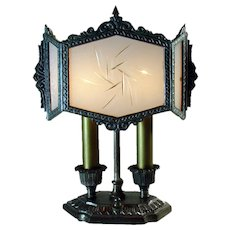 Silver Plated Desk Lamp with Six Panel Cased Glass Shade - 1920's Art Deco