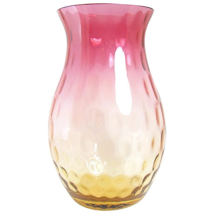 Amberina Glass Vase With Inverted Thumbprint Design 1890s Down