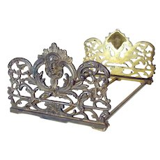 Expandable Iron Book Holder with Lady Head - Art Nouveau 1915
