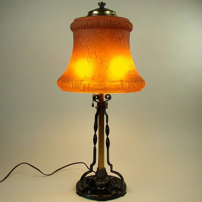 Pittsburgh Table Lamp With Burnt Orange Stretch Glass Linen Fold Shade Down The Road Antiques