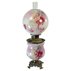 Hand Painted Banquet Lamp with Hydrangeas - 1880's