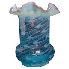 Northwood Opalescent Aqua Blue Fluted Glass Vase