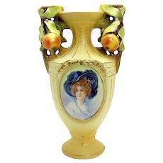 Austrian Porcelain Portrait Vase with Applied Peach handles - 1910 Victorian