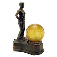 Semi-nude Electric Boudoir Lamp with Crackle Glass Ball Shade - 1920's Art Deco