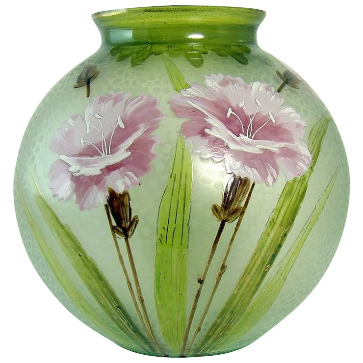 Floral Enameled And Etched Glass Vase 1920s Down The Road