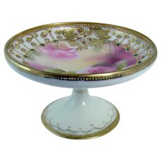 Hand-Painted Jeweled Nippon Porcelain Dresser Dish