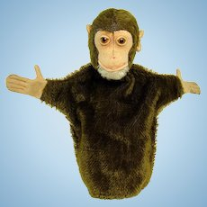 Early Steiff Jocko The Monkey Mohair Hand Puppet - 1920's