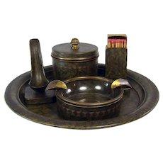 Bradley & Hubbard Arts & Crafts Smoking Set - Five Piece