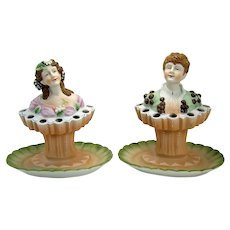 Pair of Bisque Figural Flower Frogs, Boy and Girl - Early 1900's