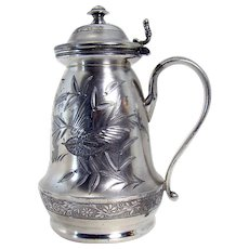 Silver Plated Syrup Pitcher with Engraved Bird - 1880's