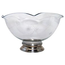 Cut Glass Bowl with Sterling Base