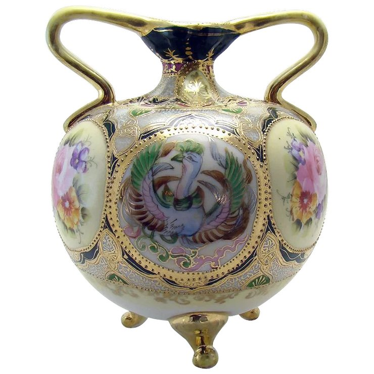 Hand Painted Nippon Porcelain Double Handled Vase With Phoenix