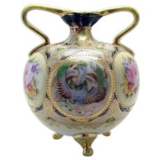 Hand-Painted Nippon Porcelain Double-Handled Vase with Phoenix