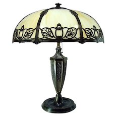 Miller Electric Table Lamp with Filigreed Eight-Panel Art Glass Shade - 1920's