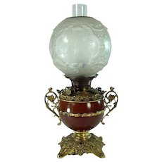 Signed Bradley & Hubbard Banquet Lamp with Deeply Etched Shade - 1880's