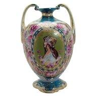 Nippon Porcelain Portrait Vase with Two Handles