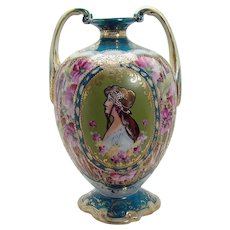 Nippon Porcelain Portrait Vase with Two Handles