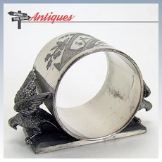 Silver Plated Napkin Ring with Two Eagles - 1880's