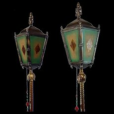 Pair of Rare Arts & Crafts Floor Lamps with Four Mica Panels 1920's - Red Tag Sale Item