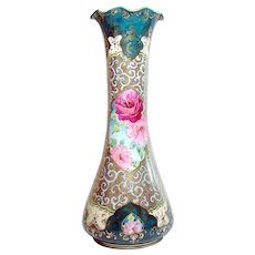 Large Hand-Painted Nippon Porcelain Vase with Bright Gold and Enameling