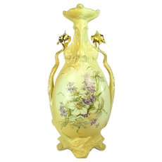 Hand-Painted Art Nouveau Ceramic Vase - 1890's