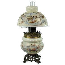Rare Mount Washington Banquet Lamp with Bicyclists - 1880's