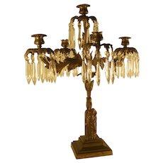 Large Bronze Gilded Figural Center Table Candelabra