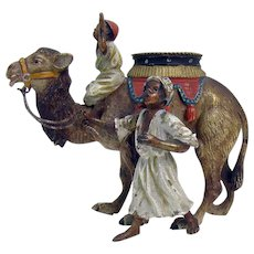 Cold Painted Austrian Bronze Figurine with Camel and Children - Early 1900's
