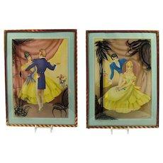 Pair of Art Deco Lithographs with Convex Glass Frames - Morris & Bendien