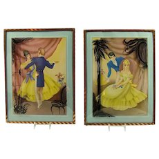 Pair of Art Deco Lithographs with Convex Glass Frames - Morris & Bendien