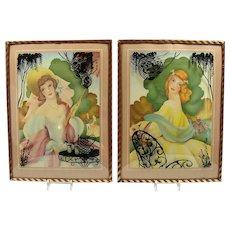Pair of Lithographs with Convex Glass Frames - Morris & Bendien - Art Deco