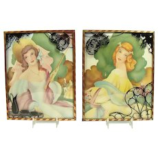 Pair of Lithographs with Convex Glass Frames - Morris & Bendien - 1920's
