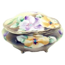 Hand-Painted Nippon Porcelain Covered Dresser Dish