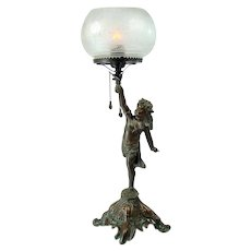 Portable Gas Table Lamp with Full-Figural Child and Deeply Etched Glass Shade - 1880's