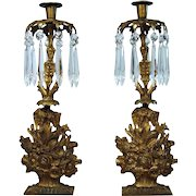 Pair of Victorian Brass Flower Basket Candelabras with Marble Bases - 1880's