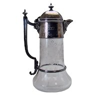 Cut Glass Claret Decanter with Silver Plated Components - 1880's Victorian