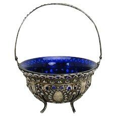 Silver Sugar Basket with Cobalt Glass Insert - 1890's