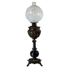Ornate Victorian Banquet Lamp with Cased Art Glass Shade - 1880's - 100% original