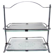 Two-Tier Dresser Tray with Glass Inserts - 1950's